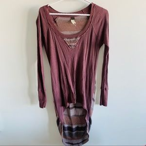 Free People High Low Distressed Shirt